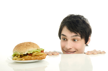 Man wanting for a big hamburger, fast food, take out for him