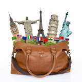 Fototapety Travel the world monuments bag concept