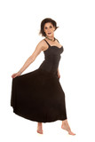 older woman black dress hold skirt out