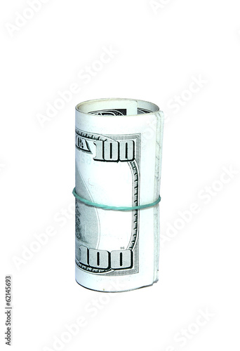 Hundred dollar bills folded in a roll isolated