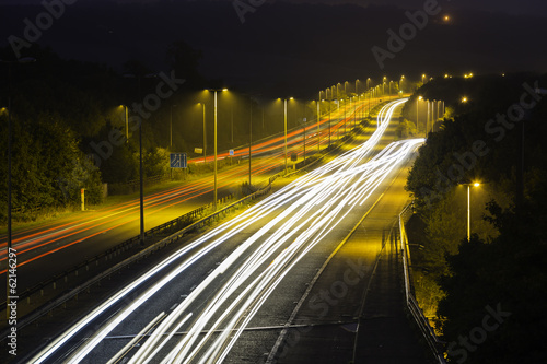 M25 Motorway at Night: Light Trails.