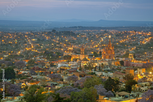Aerial View of San Miguel de Allende in Mexico After Sunset
