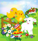 Easter egg hunt   Two cute chicks, a lamb and a duck,