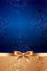 Vector blue textured background with gold bow