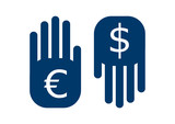 hand euro up and dollar down symbol