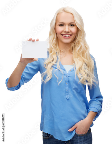 canvas print picture smiling girl with blank business or name card