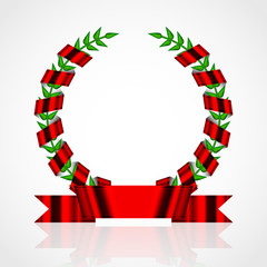 Vector laurel wreath with red ribbon