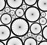 Cute vector seamless pattern with bike wheels