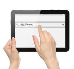 Hand pushing virtual search bar on tablet PC.