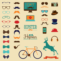 Hipster Colorful Retro Vintage Vector Icon Set