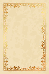 Vector parchment paper background with floral ornaments