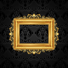 Vector vintage frame on black wall