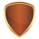 Vector illustration of wooden shield