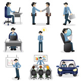 Small business people icons in different situation