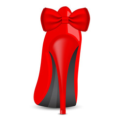 Vector illustration of red shoe with bow