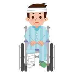大けがをした車椅子の男性
