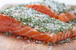 Salmon fillets with salt, sugar and dill