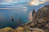 Fiolent cape. Sunny view of the Black Sea. Crimea.