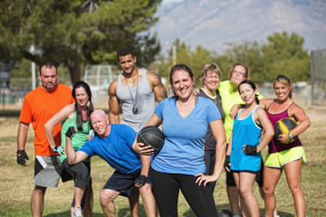 Confident Fit Woman with Group