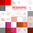 Vector red squares background illustration infographic template