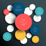 Dark Vector abstract circles infographic template