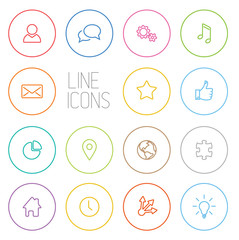 Modern outline circle thin line icon set