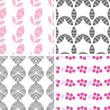 vector four abstract pink gray textured leaves seamless pattern