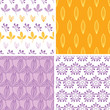 vector four abstract purple yellow folk leaves seamless pattern