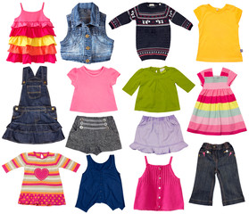 Kids fashion clothes isolated on white.