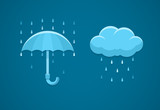 Rainy weather flat icons with cloud rain drops and umbrella.