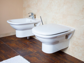 Hygiene. White porcelain bidet and toilet. Interior of bathroom.