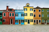 Colorful Burano channel view, Venice