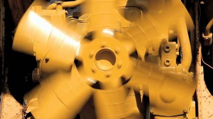 Spinning Yellow Fan Blade Closeup