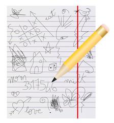 scarabocchiare su pagina di quaderno