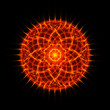 Flame tongues mandala on black background