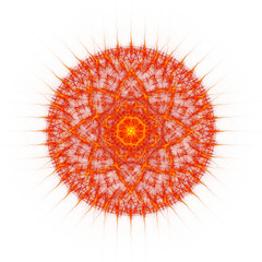 Flame tongues mandala on white background