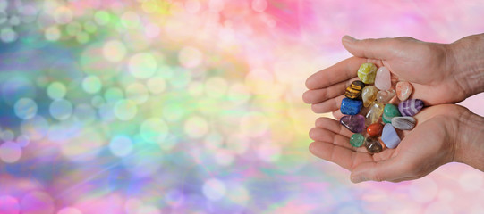 Male Crystal Healer on Rainbow Bokeh Banner