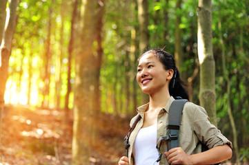 woman hiker in jungle