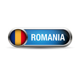 romania flag gel metal button