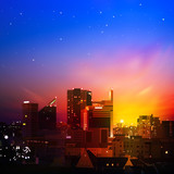 abstract background with city at night