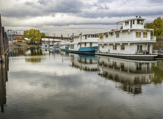 Mississippi river house boats at St Paul
