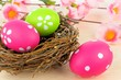 Easter eggs and springtime nest with pink flowers