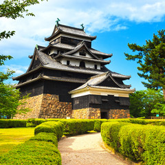 Matsue samurai feudal castle and garden. Japan, Asia.