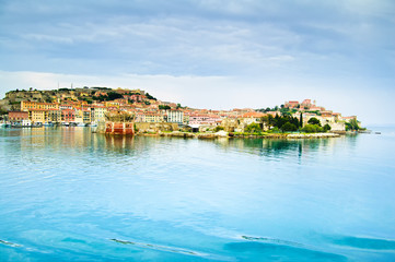 Elba island, Portoferraio village harbor and skyline. Tuscany, I