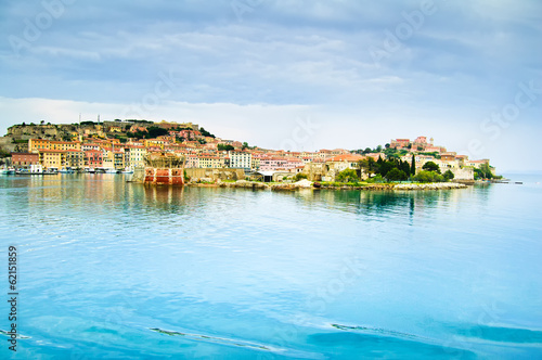 Elba island, Portoferraio village harbor and skyline. Tuscany, I - 62151859