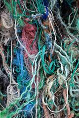 Fond de vieilles cordes usées par la mer