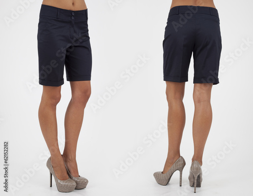 pretty women in shorts on white background back and front views