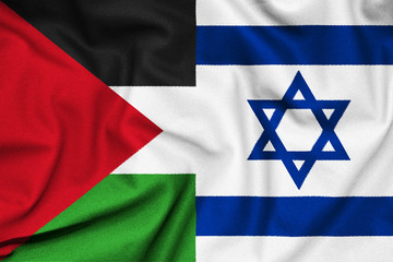 The confrontation between Israel and Palestine. Flag