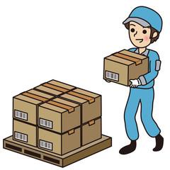 ダンボール箱を運ぶ男性