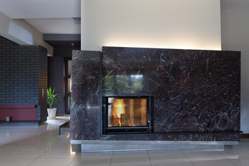 Black stylish fireplace